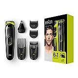 Braun 6-in-1 Multi-Grooming-Kit MGK3021, Barttrimmer und Haarschneider, Ohr- und Nasenhaartrimmer, lebenslang scharfe Klingen, schwarz/grün