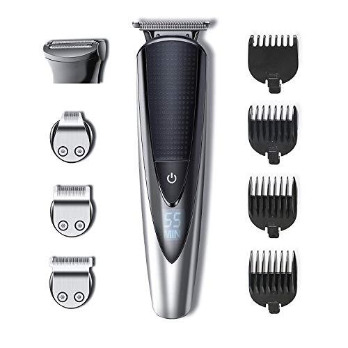 Hatteker Bartschneider Herren Haarschneider Bart Trimmer Pro Haarschneidemaschine Rasieren Haartrimmer Nasenhaartrimmer Bodygroomer Wasserdichter USB Wiederaufladbar 5 In 1