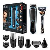 Braun 9-in-1 Multi-Grooming-Kit MGK3085, Barttrimmer und Haarschneider, Körperhaartrimmer, Ohren- und Nasenhaartrimmer, Präzisionstrimmer, lebenslang scharfe Klingen, schwarz/blau